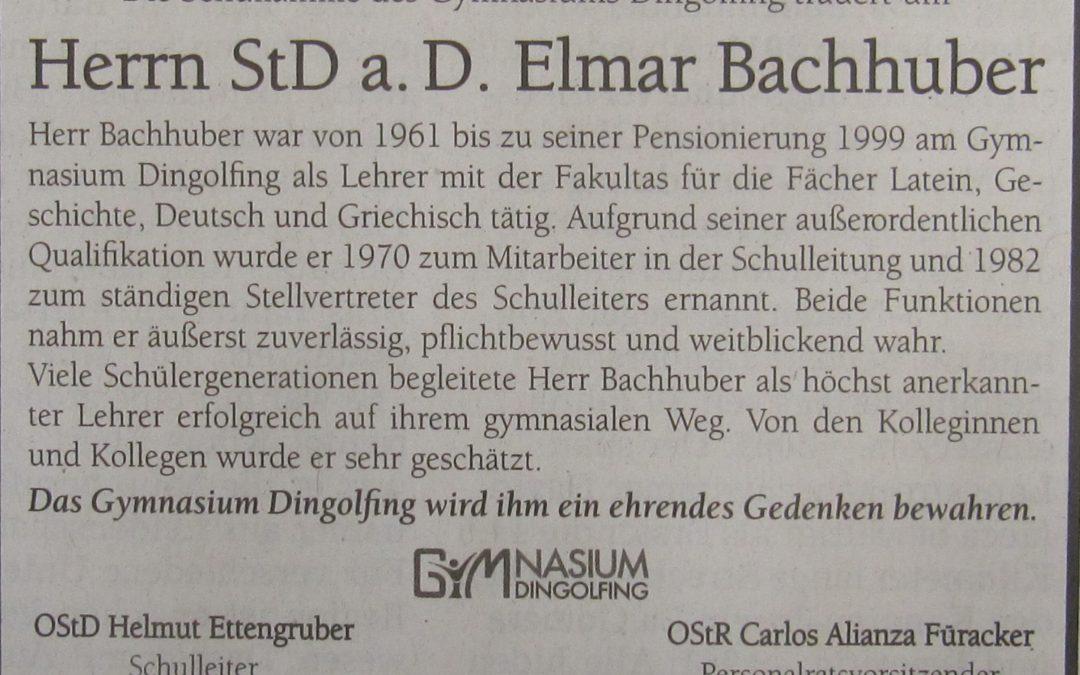 In memoriam StD a. D. Elmar Bachhuber