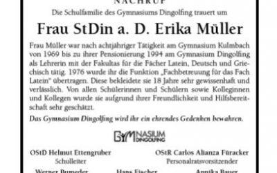 In memoriam StDin a. D. Erika Müller